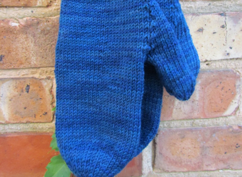 Handknit Blue Wool Mittens