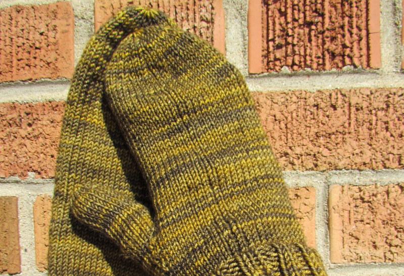 Handknit Green Wool Mittens